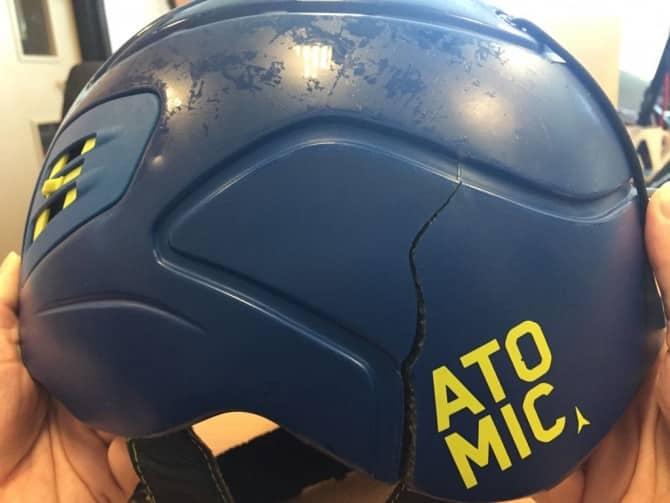 broken ski helmet