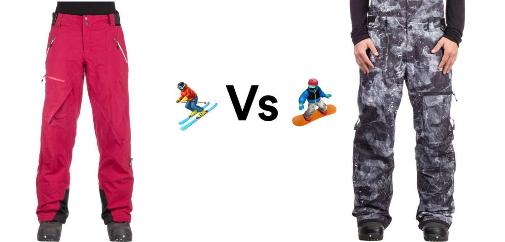 skis vs snowboard pants