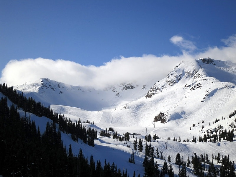 mountain clouds snow