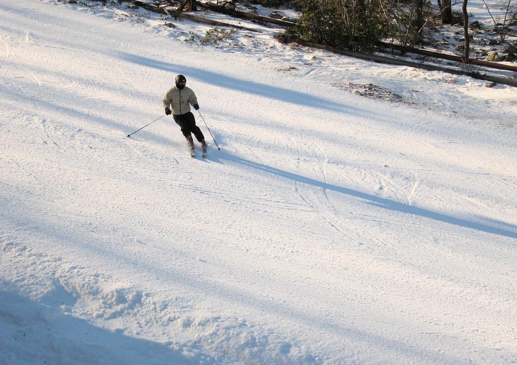 skiing parallel piste