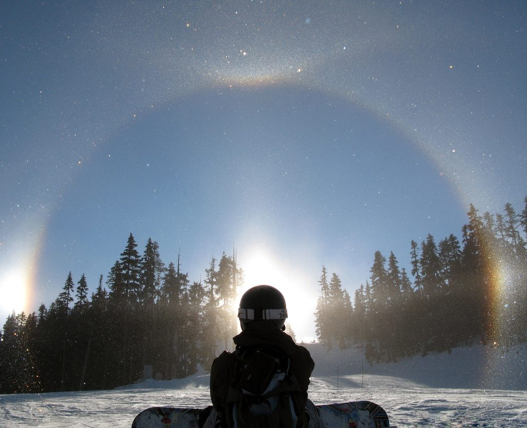 snowboarding ice crystal halo