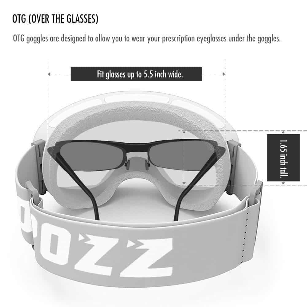 OTG ski goggle sizing