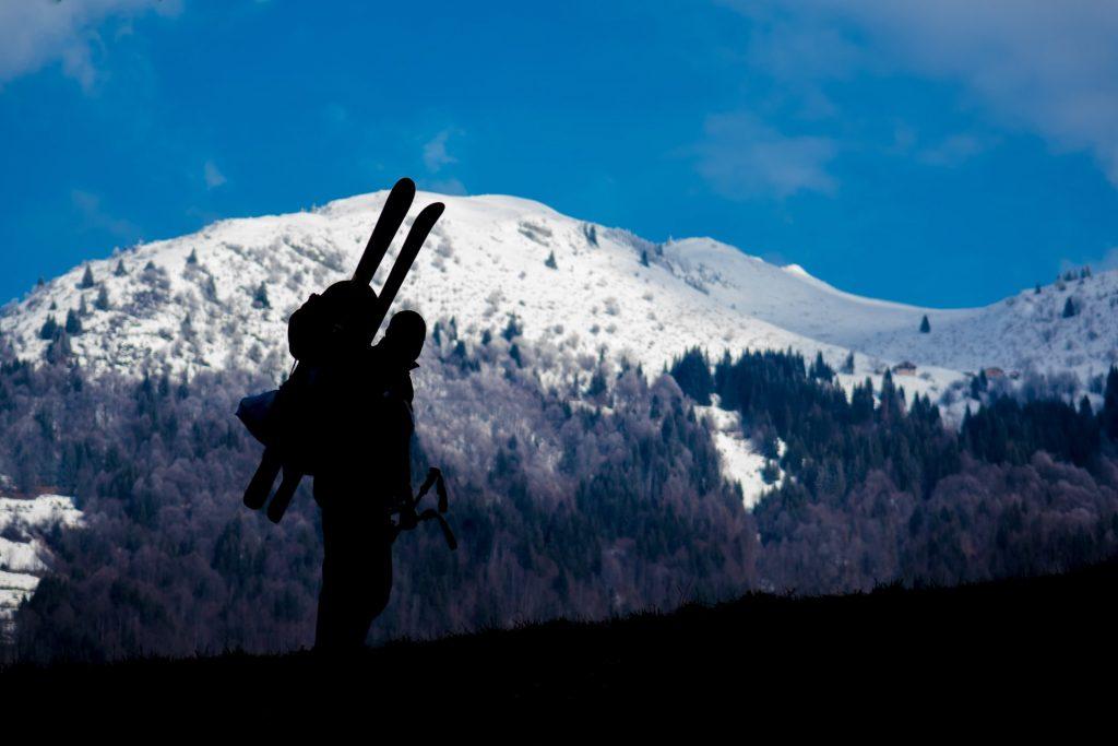 Skier's silhouette