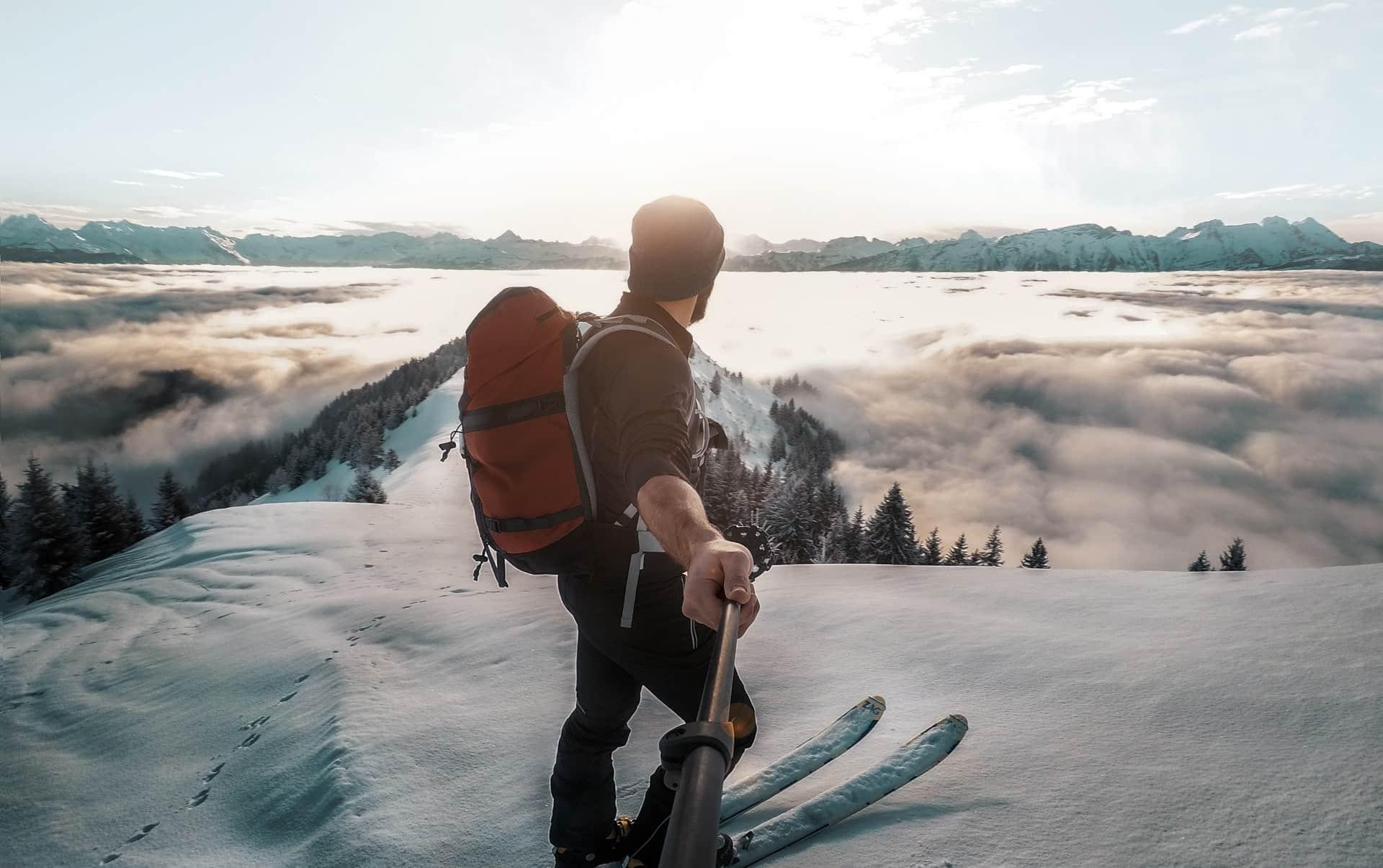 skiers backpack