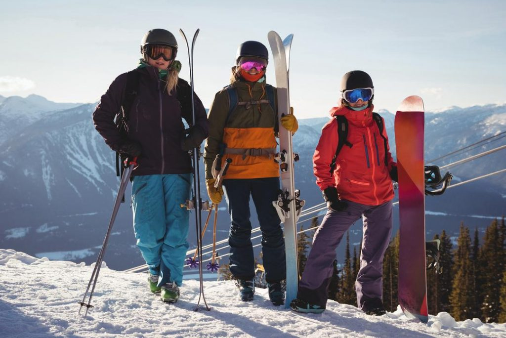 three skier